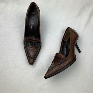 Authentic Valentino Vintage Brown Leather Heels 35
